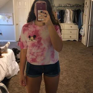 pink marble mickey mouse shirt